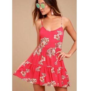 Lulu's Posy Promenade Floral Print Lace Up Dress